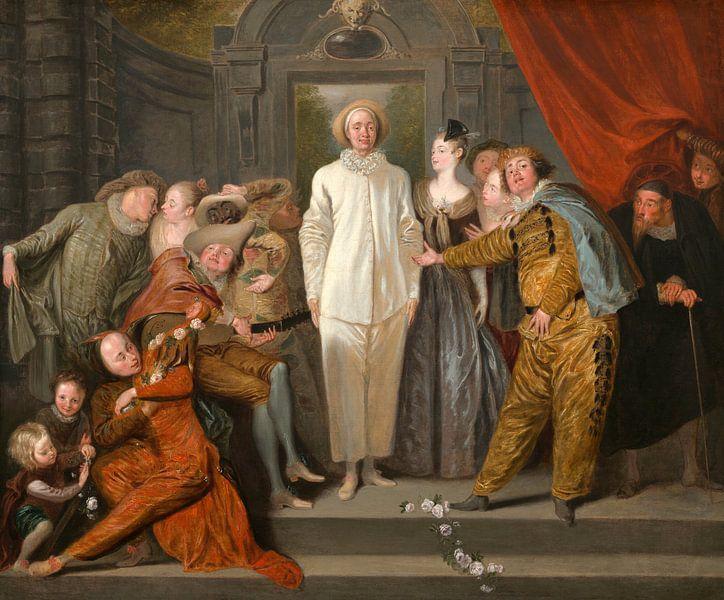 Antoine Watteau - The Italian Comedians van 1000 Schilderijen