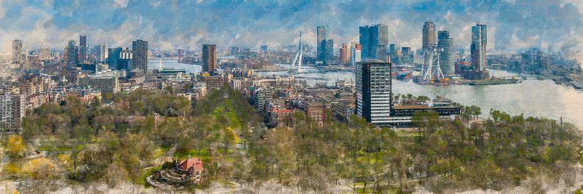 Gemaltes Panorama der Skyline von Rotterdam von Arjen Roos