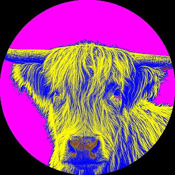 Vrolijk beeld van een Schotse Hooglander in popart stijl van Atelier Liesjes