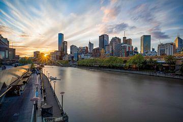 Zonsondergang in Melbourne van Rob van Esch