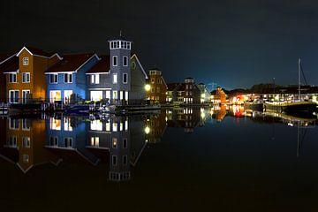 reitdiephaven in de nacht von Hollandse Kijker