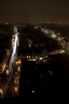 Nachtpanorama Voorstraat II, Utrecht van Maurice Moeliker