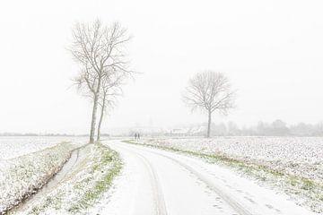 High-Key-Foto der Schneelandschaft in Zeeland von Jan Poppe