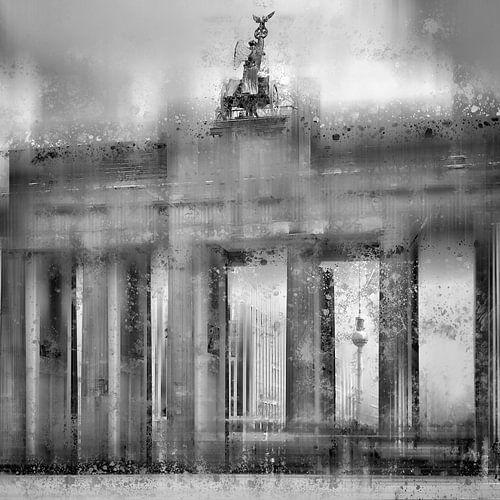 City-Art BERLIN Brandenburger Tor schwarz-weiß  von Melanie Viola