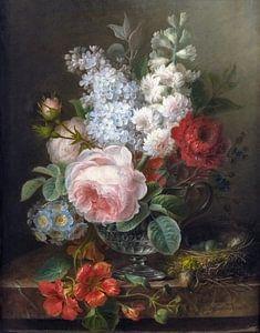 Bouquet of flowers in a glass of water, Cornelis van Spaendonck