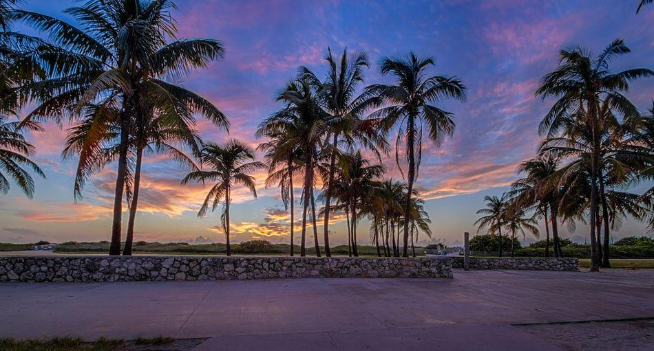 sunnrise at ocean drive miami beach auf leinwand poster. Black Bedroom Furniture Sets. Home Design Ideas