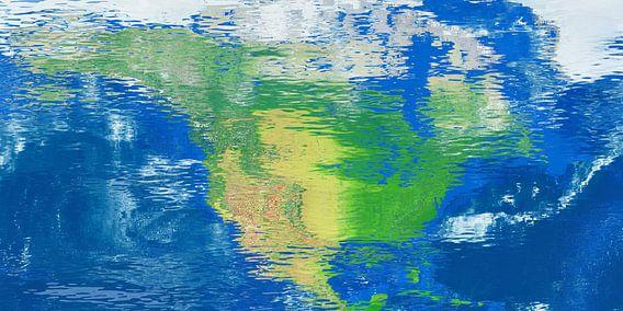 Waterspiegelkaart Noord-Amerika van Frans Blok