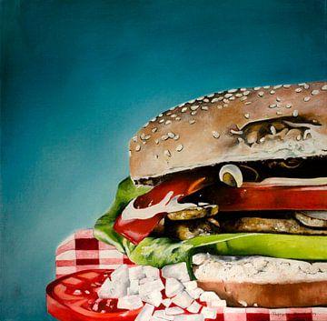 Olieverf schilderij van een hamburger. van Therese Brals