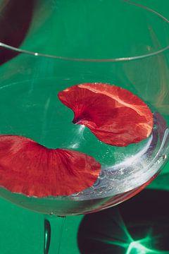 Feuilles de pavot dans le verre sur Emilia Aivazian Fotografie