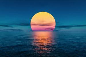 Große Sonne am Meer