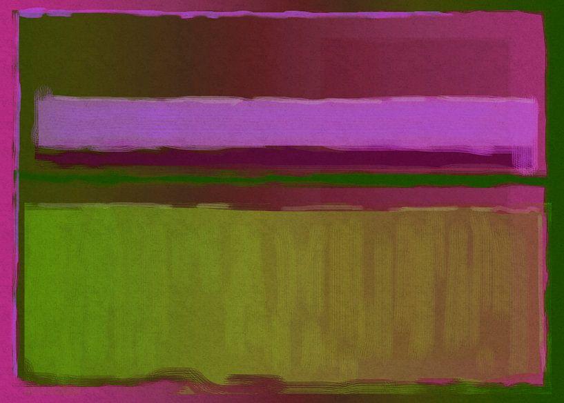 Abstract schilderij in roze en groen van Rietje Bulthuis
