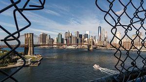 Blick auf die Brooklyn Bridge und Süd Manhattan