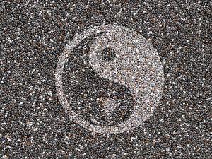 Chia zaadjes in Yin Yang
