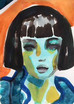 Blaue Gardenie von Helia Tayebi Art
