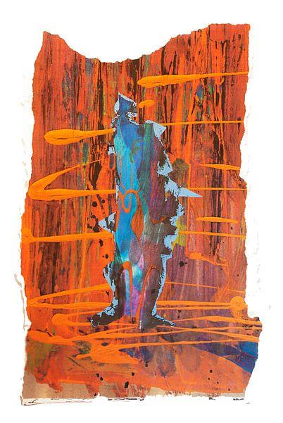 Blaue Figur auf braun gestreiftem Hintergrund von Klaus Heidecker