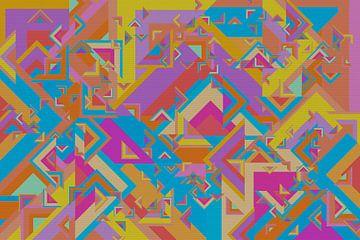 Abstract werk met driehoeken 'Herfst' van Ton Kuijpers