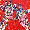 Vrolijke Giraffes van Vrolijk Schilderij thumbnail