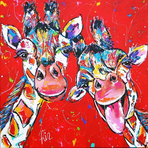 Vrolijke Giraffes van Vrolijk Schilderij