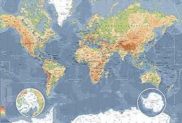 Weltkarte, klassisch von MAPOM Geoatlas