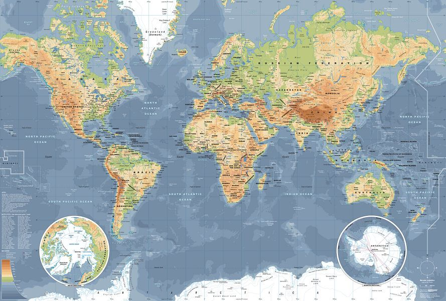 Zeer Wereldkaart, Klassiek van MAPOM Geoatlas op canvas, behang en meer HC23