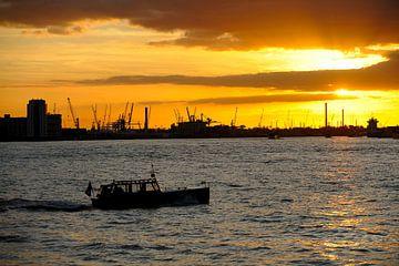 Waalhaven in Rotterdam bij zonsondergang sur Merijn van der Vliet