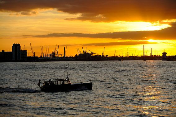 Waalhaven in Rotterdam bij zonsondergang van Merijn van der Vliet