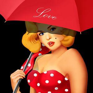 Pin-Up Girl unter rotem Regenschirm