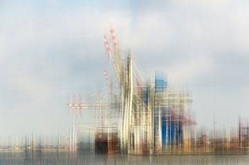 Verlade Kräne im Container Terminal Hafen Hamburg abstrakt Mehrfachbelichtung als Collage von Dieter Walther