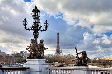 Pont Alexandre III met Eiffeltoren van Dennis van de Water