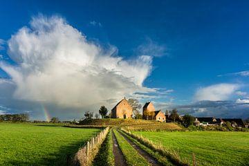 Wierdendorp Ezinge met Regenboog van Bo Scheeringa Photography