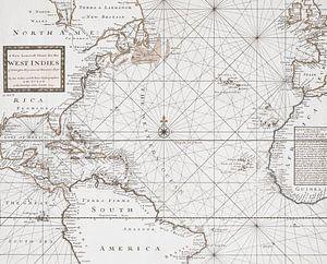 Historische kaart West-Indië en Zuid-Amerika van Andrea Haase