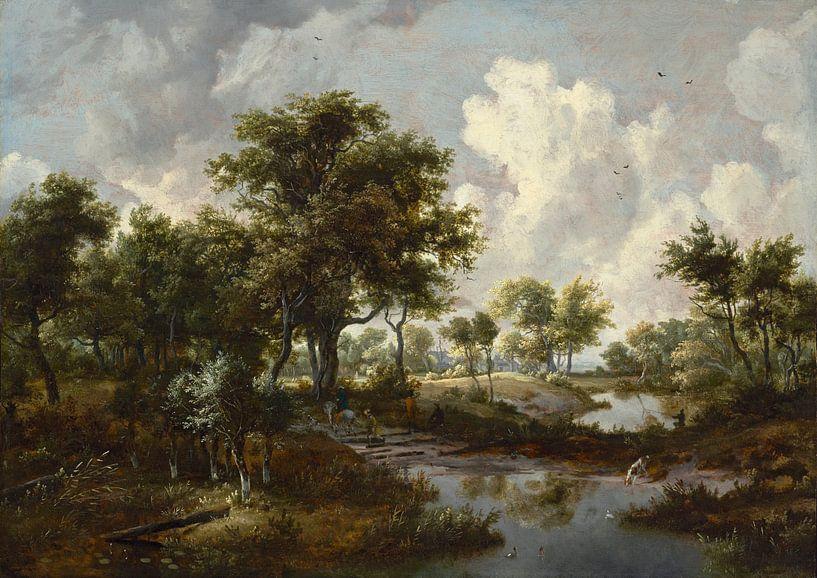 Eine bewaldete Landschaft, Meindert Hobbema von Meesterlijcke Meesters