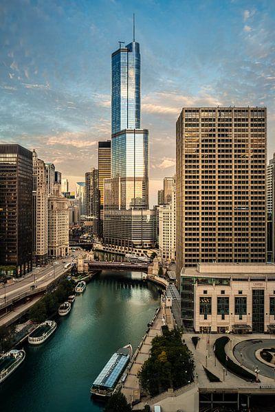 Good morning Chicago - Zicht over de Chicago River van Edwin van Wijk