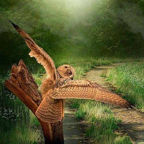 Een gedetailleerde Oehoe met gespreide vleugels land op een boomstronk. Gras, bomen en een zandpad