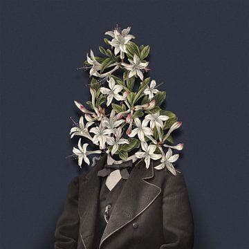 Zelfportret met bloemen en rups van