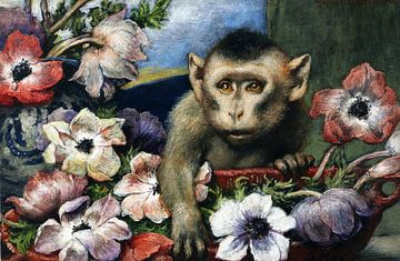 Verjaardagsbloemen (aap met anemonen), GABRIEL CORNELIUS VON MAX, 1890