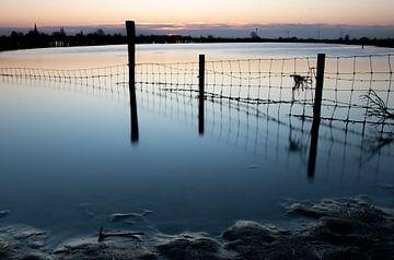 Een rauw beeld van een hek in de uiterwaarde van de Lek van Arthur Puls Photography
