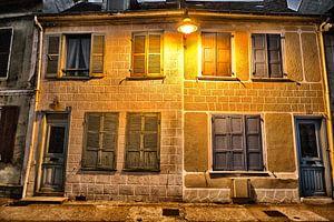 Franse huizen bij nacht van