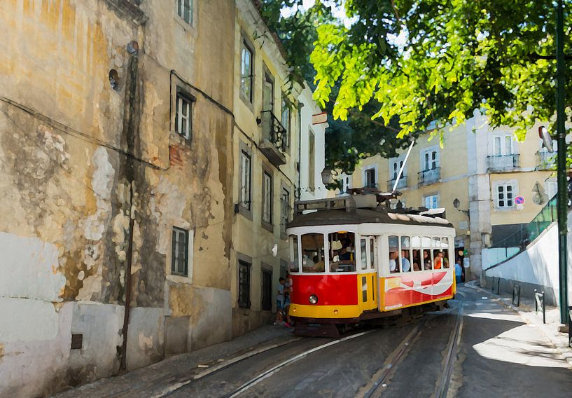 art impression foto van tram 28 in lissabon van ChrisWillemsen