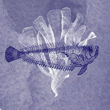 Delfter Blau Fisch II von Jadzia Klimkiewicz