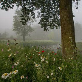 Mist, bloemen en een boom van Natascha Worseling