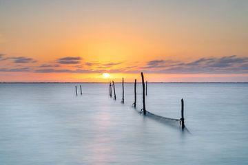 Visnetten in het meer tijdens zonsondergang