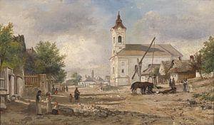 Ein Kirchvorplatz mit Brunnen, Elias Pieter van Bommel.