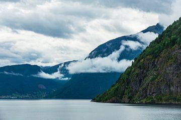 Blick auf den Aurlandsfjord in Norwegen von