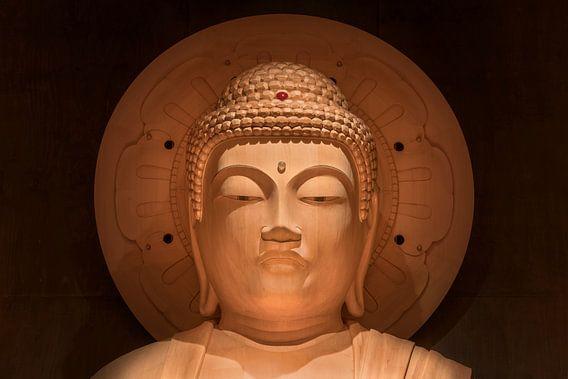 Hoofd van de grote Japanse Boeddha Shakyamuni in Japan.