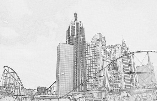New York in Las Vegas, zwart-wit tekening