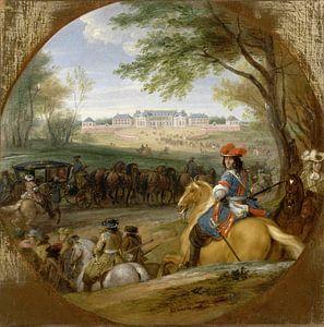 Ankunft Ludwigs XIV. vor der Ankunft seiner Gardisten im alten Schloss von Versailles, Adam Frans va