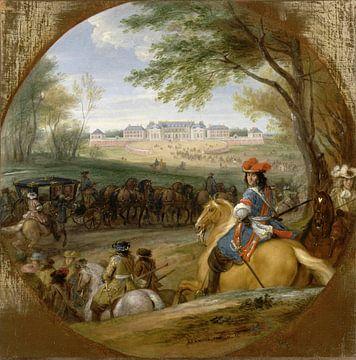 Arrivée de Louis XIV précédé de ses gardes à l'ancien château de Versailles, Adam Frans van der Meul