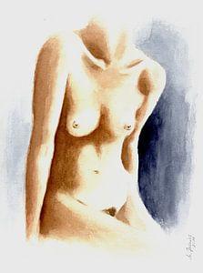 Aquarel schilderij mooie vrouwelijke torso