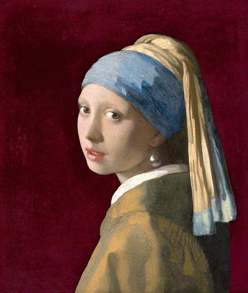Mädchen mit dem Perlenohrring, burgunderrot - Johannes Vermeer von Marieke de Koning